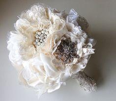 Handmade fabric bridal bouquet Great Gatsby weddings by Innstyches
