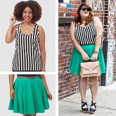 Asos Curve Tank in Stripe, sizes 10-24, and Skater Skirt with Belt in Emerald, sizes 16-24, on Nicolette Mason of Nicolette Mason.