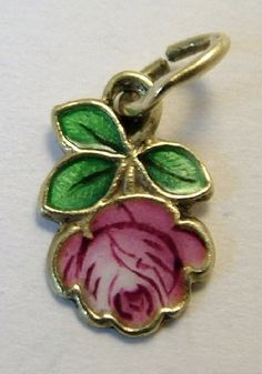 1950's 14K Gold and Enamel Pink Rose Charm