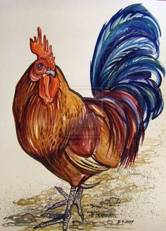 Strawberry Patch Rooster 2 by HouseofChabrier.deviantart.com on @deviantART