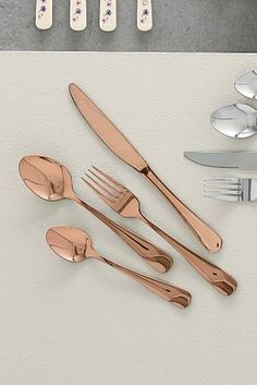 awesome Purchase Set Of 16 Copper Impact Cutlery from the Subsequent UK on-line store Rose Gold Kitchen, Copper Kitchen, Kitchen Dinning, Kitchen Decor, Kitchen Items, Kitchen Utensils, Kitchen Gadgets, Copper Cutlery, Cutlery Set