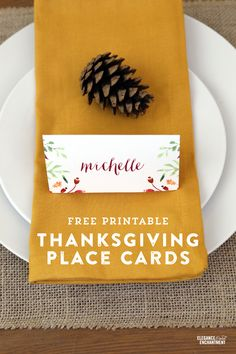 Free Printable Thanksgiving Place Cards and Tent Cards from Elegance & Enchantment