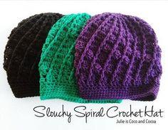 Easy Crochet Hat - for kids and Women easy crochet hat slouchy spiral crochet hat pattern uhvfltj Crochet Hat With Brim, Easy Crochet Hat, Bonnet Crochet, Crochet Beanie, Crochet Scarves, Crochet Crafts, Crochet Projects, Free Crochet, Knit Crochet