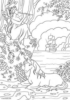 unicorn faerie coloring pages - photo#21