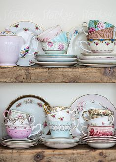 Vintage crockery on wooden shelves by RuthBlack | Stocksy United