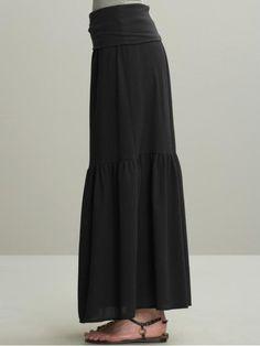 Cotton/linen (Tiered crinkle maxi skirt at Banana Republic, 90) -- Basic.