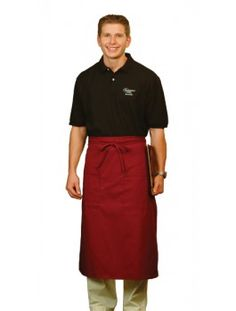 Long Bistro Apron, available in five colors. Made in the USA. Size: L X W. Restaurant Aprons, Cafe Apron, Online Purchase, Smocking, Chef Jackets, Dresses For Work, Coat, Mens Tops, Ice Cream