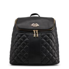 Shop love moschino black padded leather backpack at Fashiontage. Give your online shopping a new twist with stylish women's bags/backpacks from Fashiontage. Black Backpack, Leather Backpack, Rucksack Bag, Backpack Handbags, Bago, Luxury Bags, Vegan Leather, Moschino, Dust Bag