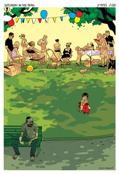 made by: Asaf Hanuka - Illustration (Family party in the park)