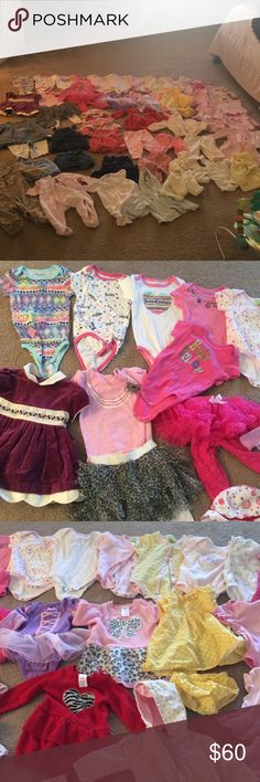 Baby Girl Bundle👶🏼 6-9M 50 total pieces Includes:  12 onesies (5 of them are Juicy Couture) 6 matching sets 1 Dress 1 Disney princess Aroura sleeping beauty onesie tutu 1 pink lace leggings with a tutu attached  2 sweater dresses 2 rompers 2 short sleeve shirts 2 long sleeve shirts 1 jean overall dress 2 skirts 4 mix and match Pants 4 knitted sweaters 1 hooded sweater 2 PJs Matching Sets