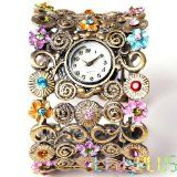Lady Women Color Crystal Quartz Bracelet Bangle Watch - Lady Women Color Crystal Quartz Bracelet Bangle Watch    * Cultivate a glamorous look with the openwork flower-design * Cute flower's core is decorated with multicolour crystals * Silver color m