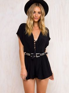 """Black+Water+Playsuit+-+ Step+out+in+this+mystic+playsuit! Stylish+oversized+sleeves Beautiful+tie+up+detailing+at+front Elasticised+at+waist+for+a+flattering+fit Features+a+removable+waist+tie 100%+Polyester Length+of+size+8+shoulder+to+hem:+83cm Brooke+is+wearing+a+size+8  Brooke's+deets  Dress+size+8 Height:+180cm+(5'11"""") Bust:+81cm Waist:+66cm Hips:+91cm"""