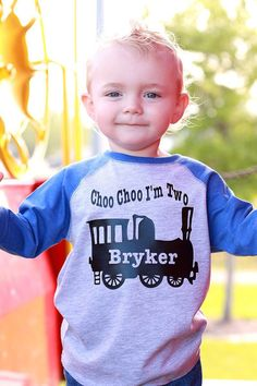Choo choo train birthday shirt train t-shirt by PurpleElephantSTL