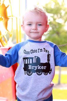 Choo choo train birthday shirt train t-shirt by PurpleElephantSTL