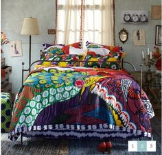 Bohemian Decor! Love all the color! What is so cool about this is that everything will blend.Boho style is so versitle. Makes it easy to decorate