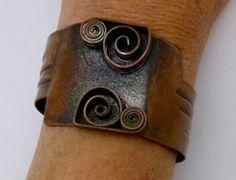 Vintage REBAJES COPPER CUFF Bracelet Signed by DaffodilsVintage