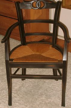 Painted/distressed With Wicker Seat  Chair After Pic