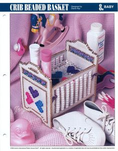 Crib Beaded Basket, Annies plastic canvas pattern in Crafts, Needlecrafts & Yarn, Needlepoint & Plastic Canvas Plastic Canvas Stitches, Plastic Canvas Crafts, Plastic Canvas Patterns, Nursery Patterns, Patterned Sheets, Miniature Furniture, Cribs, Nursery Decor, Baby Shower Gifts