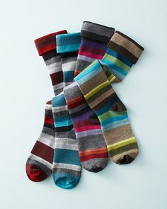 Goodhew® Whirlwind Striped Knee-High Socks, Merino wool/bamboo rayon/spandex, Garnet Hill $22