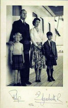 Queen Elizabeth II, Prince Phillip and their children Princess Anne and Prince Charles in 1956