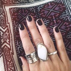 Love this nail color and the rings, but not all on the same hand.