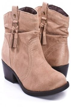 Taupe Faux Suade Ankle Boots on PinkBasis. Gotta love my country Western styles!
