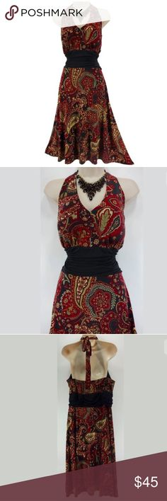 """18W 2X SEXY PAISLEY PRINT HALTER DRESS Plus Size Size: 18W Slip on/ slip off Padded bra inserts (no bra necessary!) Halter tie at the back of the neck Gorgeous paisley print in dark red, black, neutral, & ivory Stretchy, super comfortable fabric Flattering ruched waist Measurements: Bust (armpit to armpit):  39"""" relaxed - stretches to 52"""" Waist: 39"""" relaxed - stretches to 50"""" Hips:  55"""" relaxed Length: 34.5"""" (armpit to bottom hem)   Condition:  PRISTINE CONDITION! Fabric Content: 94%…"""