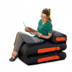 Black and orange, very modern. Reliable and durable materials. Contemporary Bean Bags, Contemporary Furniture, Contemporary Design, Showroom, Baby Car Seats, Furniture Design, Children, Poufs, Black