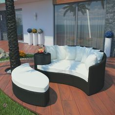 Taiji Outdoor Wicker Patio Daybed with Ottoman in Espresso with White Cushions modern-patio-furniture-and-outdoor-furniture