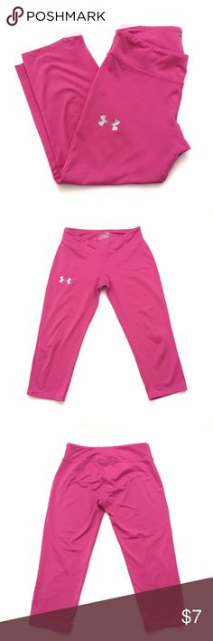 🎾UNDER ARMOUR PINK CAPRI LEGGINGS Im selling these cute bright pink Capri leggings. They are perfect for any kind of workout. They are tagged L and I'd say they fit a 10-12 depending on the constitution of the child. My daughter is very skinny and she wore it when she was 11. They are in good condition with some minor flaws like pulls, two tiny spots and some wear around the knees. Please see last pictures and ask any questions before purchasing. ❣️BUNDLE AND SAVE MORE❣️ Under Armour…