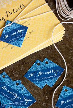Henna Wedding Stationery from Evermine #paper #invitation #suite #yellow #blue | Evermine Blog | | Evermine Blog | www.evermine.com