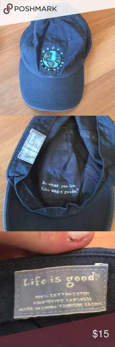 "Check out LIFE IS GOOD ""Happy To Be Here"" Baseball Cap"