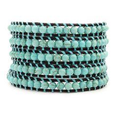 Turquoise Wrap Bracelet on Natural Black Leather