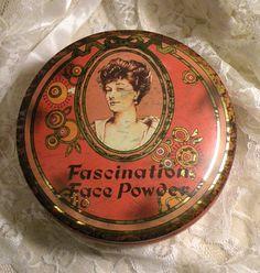 Vintage Daher Tin Fascination Face Powder England Vintage Collectible Advertising Tin