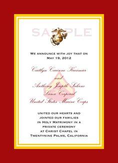Custom 5x7 Military Wedding Invitation Marine by starsandstripe