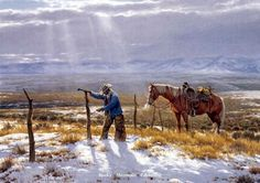 """""""Fence Mender""""by Clark Kelley PriceOpen Edition, Image Size 16x24 -Western Art"""