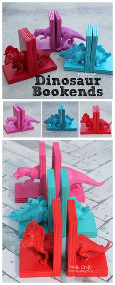Bookends With Hot Glue! Dinosaur Bookends with Hot Glue - so going to make these for my sweet nephews!Dinosaur Bookends with Hot Glue - so going to make these for my sweet nephews! Kids Woodworking Projects, Craft Projects, Diy Woodworking, Woodworking Equipment, Woodworking Supplies, Woodworking Classes, Wood Projects, Kids Crafts, Diy And Crafts