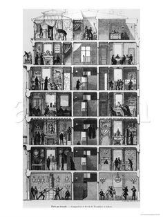 """Cross-Section of a Parisian Building, Illustration Frpm """"Le Magasin Pittoresque,"""" 1883"""