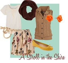 """""""A Stroll in the Shire"""" by mlhunt on Polyvore. I got tired of looking for Hobbit inspired outfits so I made my own. Virtually."""
