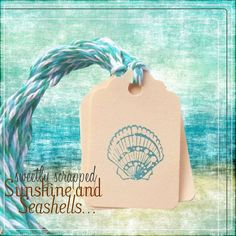 Seashell Tags Teal Blue Sea shells summer by SweetlyScrappedArt, $3.75