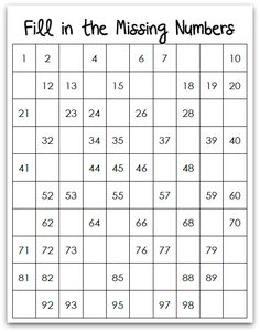 Free Missing Numbers Hundreds Chart Printable {31 Days of Learning with Little Ones @ AllOurDays.com}