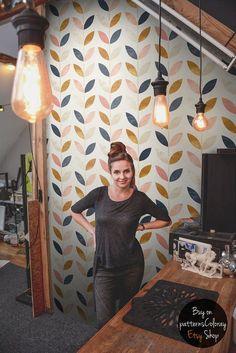 Modèle de style scandinave Papier peint Vintage Murale by patternsCOLORAY | Etsy