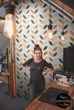 Scandinavian style pattern    Vintage wallpaper    Self adhesive wall mural    Wall covering  #60