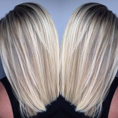 Hair Color Trends 2018 – Highlights bright blonde lob :: RedBloom Salon Discovred by : Brooke Travis Medium Hair Styles, Short Hair Styles, Hair Medium, Cool Blonde Hair, Blonde Lob Hair, Brown Hair To Bleach Blonde, Dark Roots Blonde Hair Short, Blonde Sombre, Light Ash Blonde