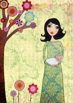 Mother and Baby Painting Motherhood Painting Art Print on Wood Nursery Art New Baby's Room Decor. $35.00, via Etsy.