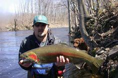 """An awesome fan, Robert Moore, sends in his steelhead, caught in the Salmon River, NY. It was 36"""" and weighed 15lbs! It was also caught on a peach egg! Thanks for sharing Robert."""