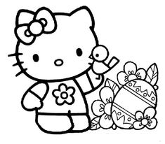happy easter for hello kitty coloring pages for kids printable easter coloring pages for kids