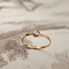 rustwedding — 18ct rose gold 3mm rose-cut diamond ring