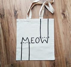 MEOW | hand painted | TOTE BAG, shopping bag, grocery bag, reusable bag, shoulder bag, cat lover bag, natural canvas, cat lady bag, cats by miskabags on Etsy