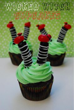 Wicked Witch cupcakes. So cute!  I don't know if I could make this successfully...